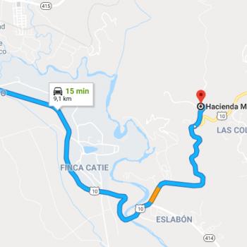 Acces de Turrialba vers l'Hacienda Monte Claro